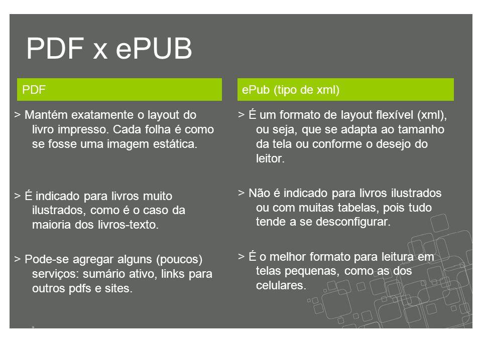 PDF x ePUB > É um formato de layout flexível (xml), ou seja, que se adapta ao tamanho da tela ou conforme o desejo do leitor.