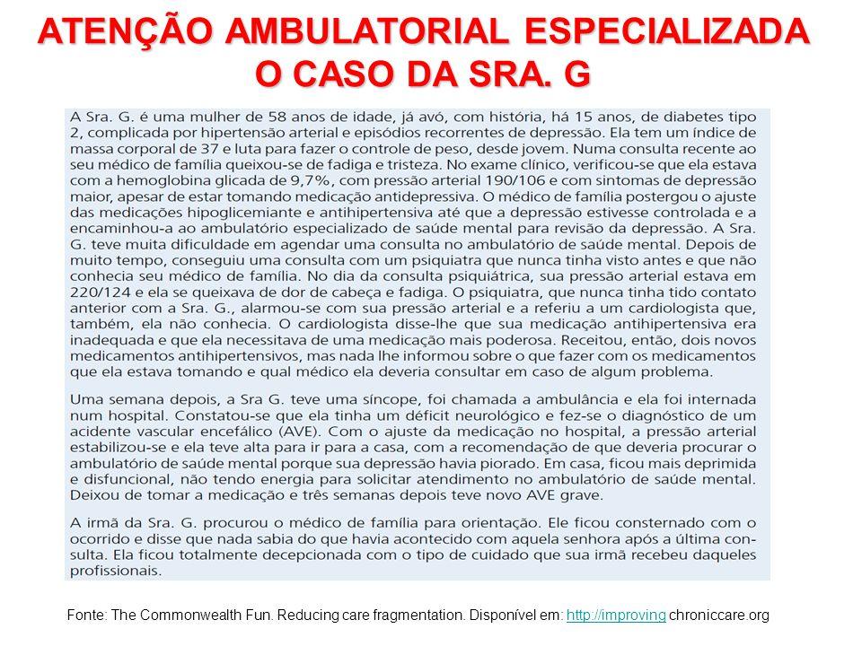 ATENÇÃO AMBULATORIAL ESPECIALIZADA O CASO DA SRA. G Fonte: The Commonwealth Fun. Reducing care fragmentation. Disponível em: http://improving chronicc