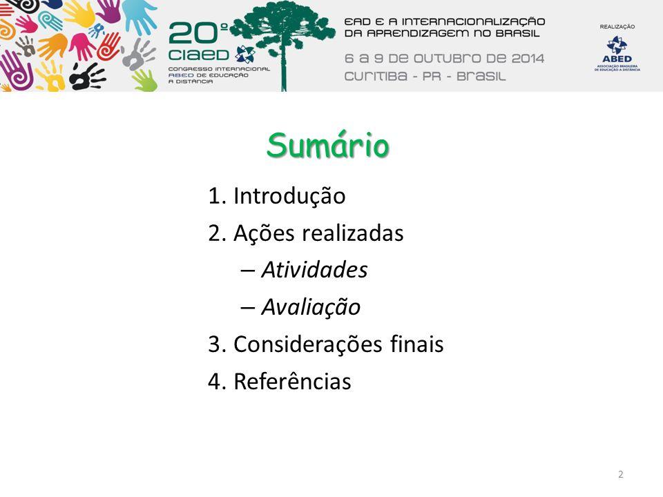 Sumário 1. Introdução 2. Ações realizadas – Atividades – Avaliação 3. Considerações finais 4. Referências 2
