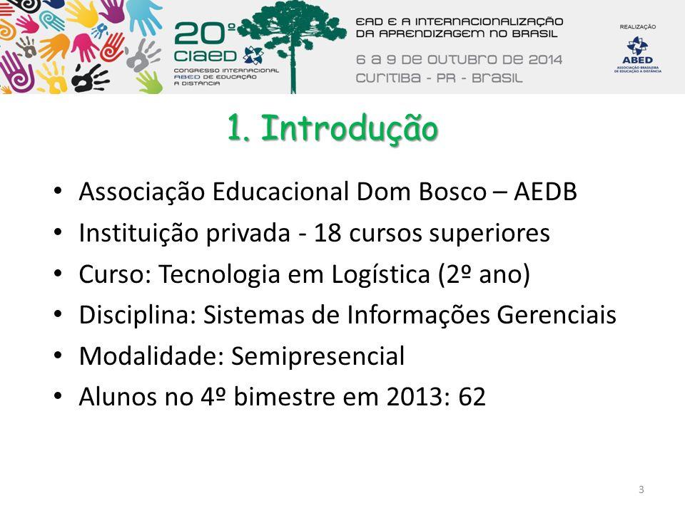 1. Introdução Associação Educacional Dom Bosco – AEDB Instituição privada - 18 cursos superiores Curso: Tecnologia em Logística (2º ano) Disciplina: S