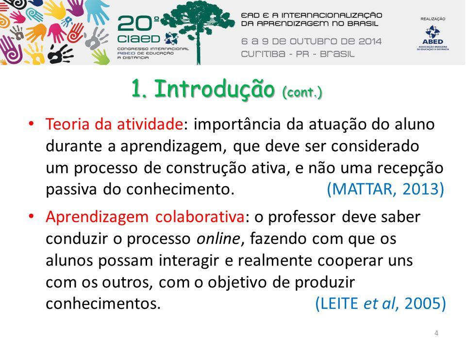 1. Introdução (cont.) Teoria da atividade: importância da atuação do aluno durante a aprendizagem, que deve ser considerado um processo de construção