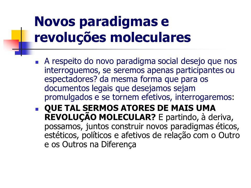 Novos paradigmas e revoluções moleculares A respeito do novo paradigma social desejo que nos interroguemos, se seremos apenas participantes ou espectadores.