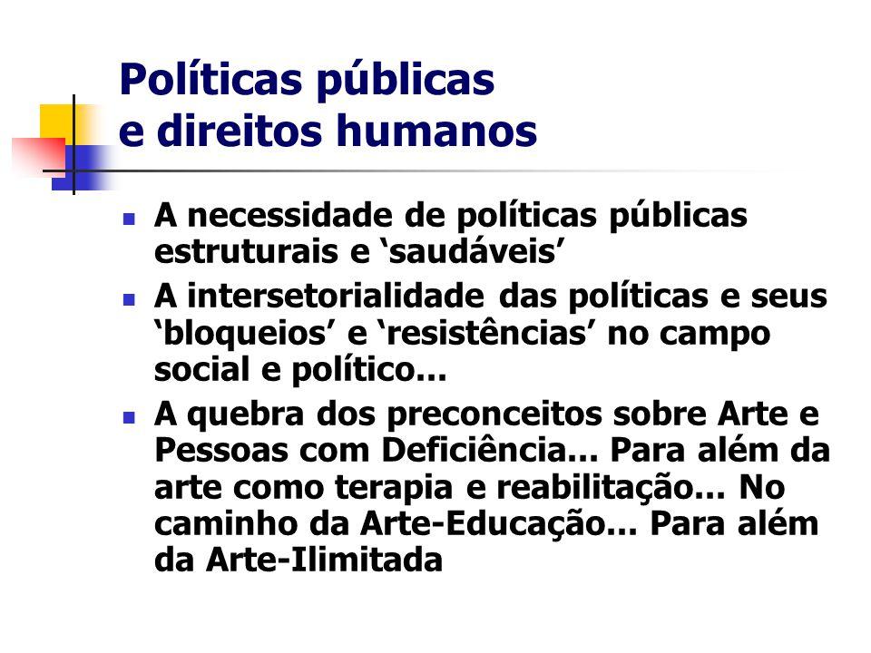 Políticas públicas e direitos humanos A necessidade de políticas públicas estruturais e 'saudáveis' A intersetorialidade das políticas e seus 'bloqueios' e 'resistências' no campo social e político...