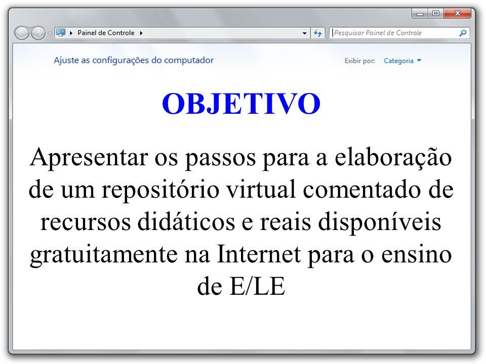 OBJETIVO Apresentar os passos para a elaboração de um repositório virtual comentado de recursos didáticos e reais disponíveis gratuitamente na Internet para o ensino de E/LE
