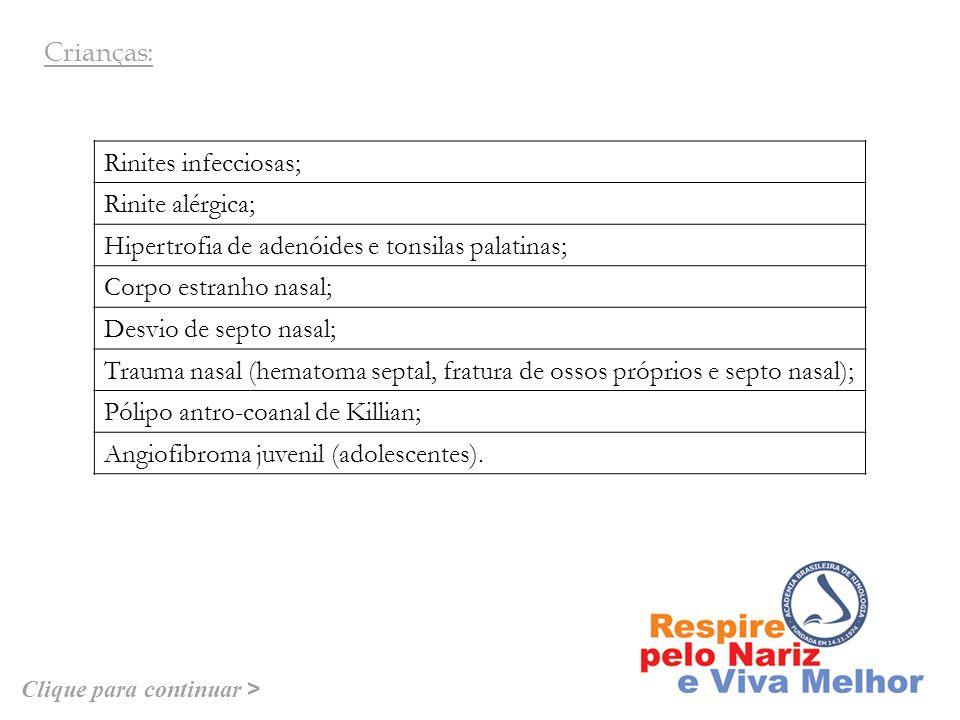 Rinite infecciosas; Rinite alérgica; Rinites não-alérgicas: idiopática ( vasomotora ), medicamentosa, irritativa (ocupacional), gestacional, induzida por drogas, rinite não-alérgica eosinofílica, hormonal (rinite gestacional, hipotireoidismo) e rinite atrófica; Polipose nasal; Tumores: estesioneuroblastoma, papiloma invertido, entre outros; Alterações fisiológicas relacionadas ao cilco nasal e ao decúbito.