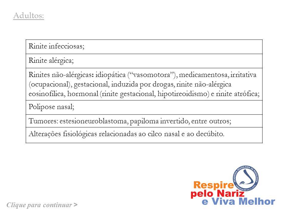 Alteração estrutural da válvula nasal (ponta nasal caída); Rinites infecciosas; Rinite gustativa; Rinite seca.