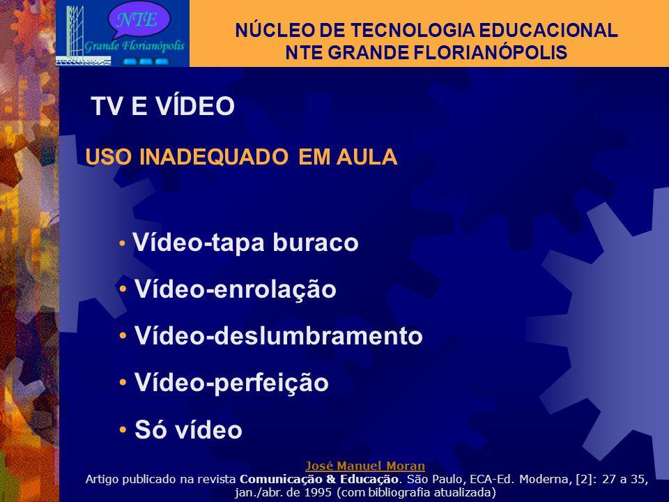 NÚCLEO DE TECNOLOGIA EDUCACIONAL NTE GRANDE FLORIANÓPOLIS TV E VÍDEO Trabalho planejado: orientado, discutido, não apenas diversão; Percepção e criaçã