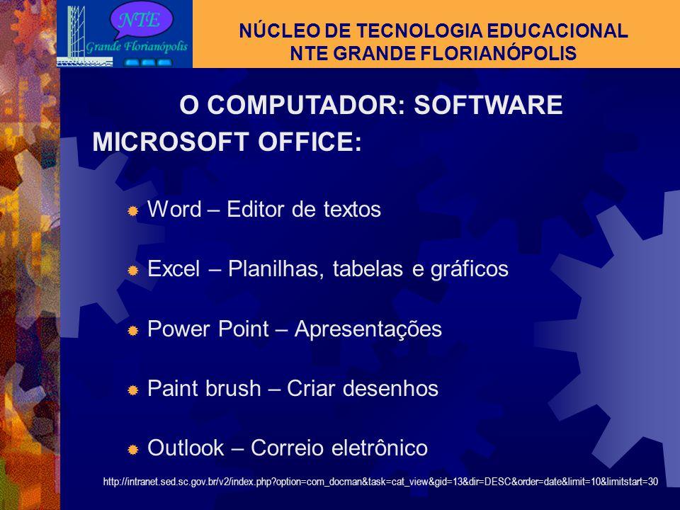 O COMPUTADOR : SOFTWARE NÚCLEO DE TECNOLOGIA EDUCACIONAL NTE GRANDE FLORIANÓPOLIS WINDOWS: MEU COMPUTADOR:  Disquete de 3½ (A:)  Disco local (C:) 