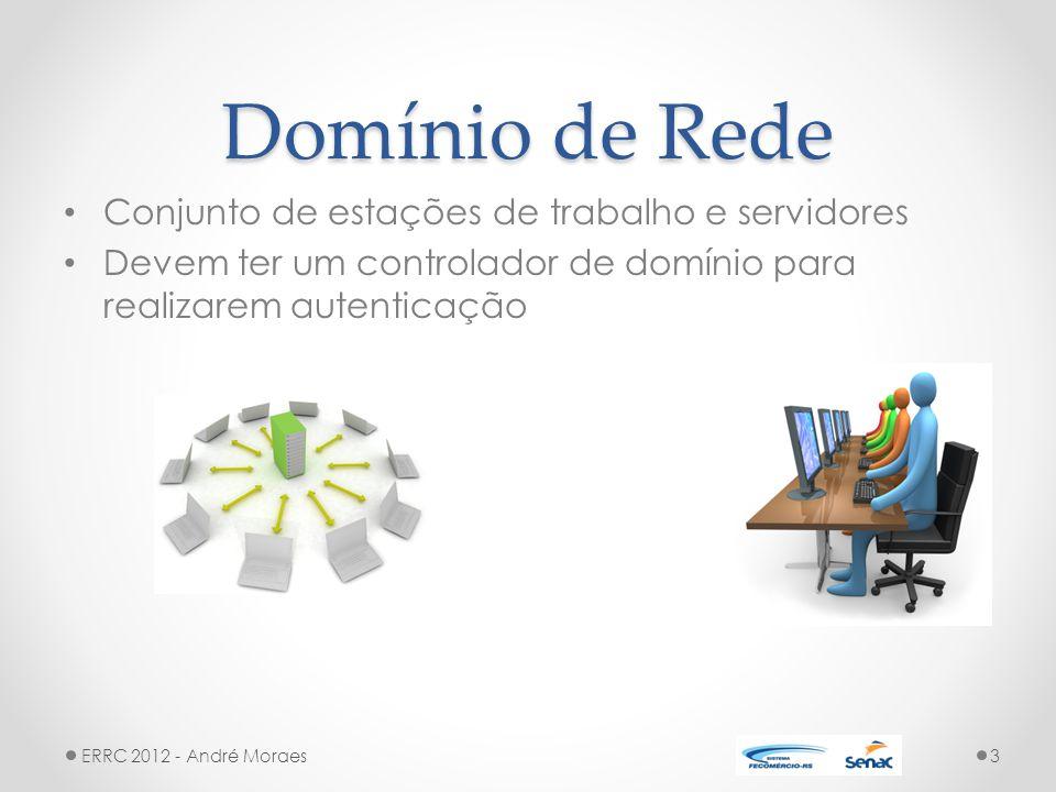 Domínio de Rede Conjunto de estações de trabalho e servidores Devem ter um controlador de domínio para realizarem autenticação ERRC 2012 - André Moraes3
