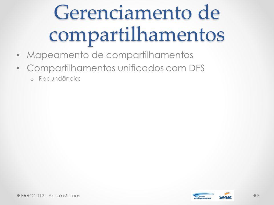 Gerenciamento de compartilhamentos Mapeamento de compartilhamentos Compartilhamentos unificados com DFS o Redundância; ERRC 2012 - André Moraes8