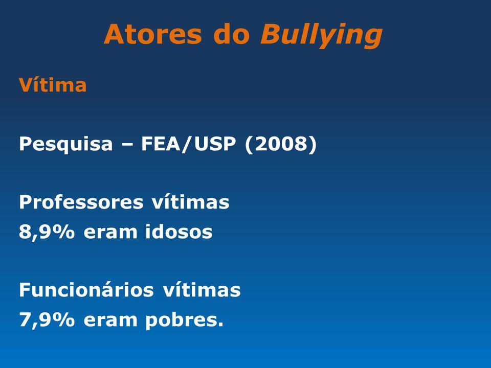 Atores do Bullying Vítima Pesquisa – FEA/USP (2008) Professores vítimas 8,9% eram idosos Funcionários vítimas 7,9% eram pobres.