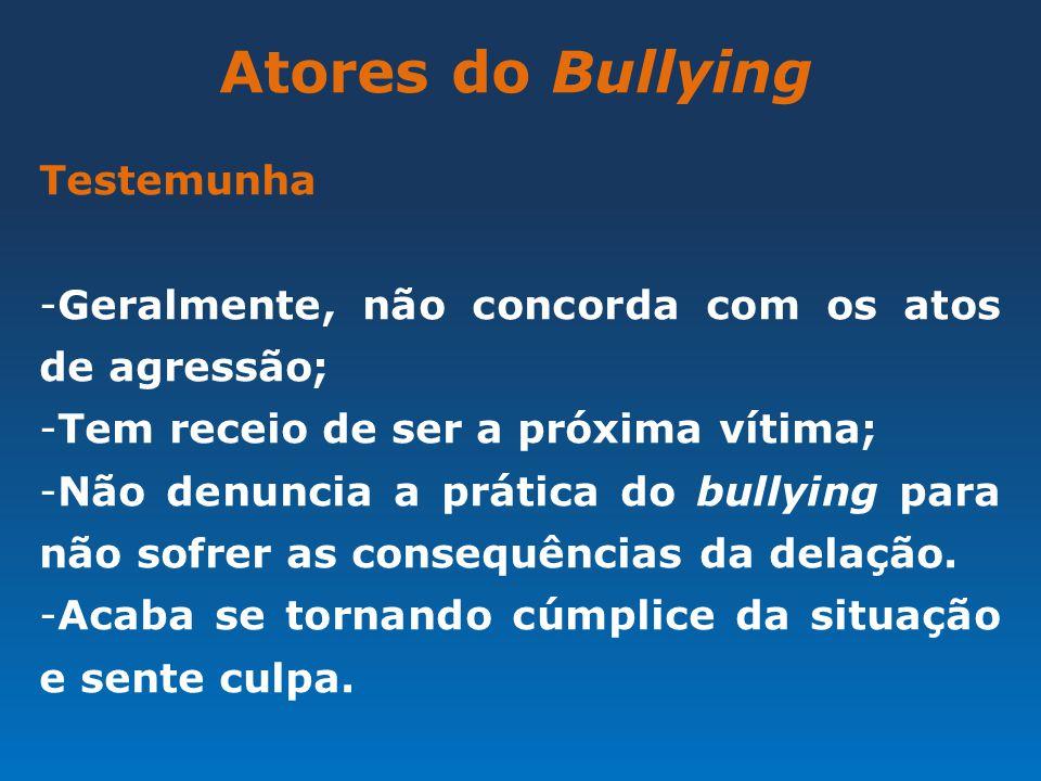 Atores do Bullying Testemunha -Geralmente, não concorda com os atos de agressão; -Tem receio de ser a próxima vítima; -Não denuncia a prática do bully