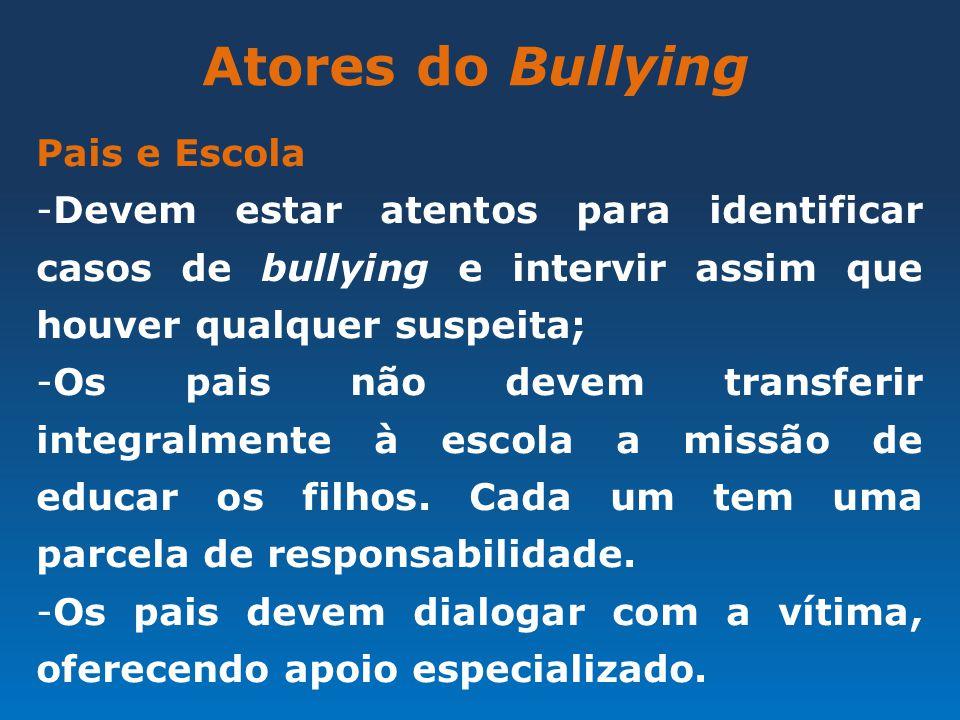 Atores do Bullying Pais e Escola -Devem estar atentos para identificar casos de bullying e intervir assim que houver qualquer suspeita; -Os pais não d