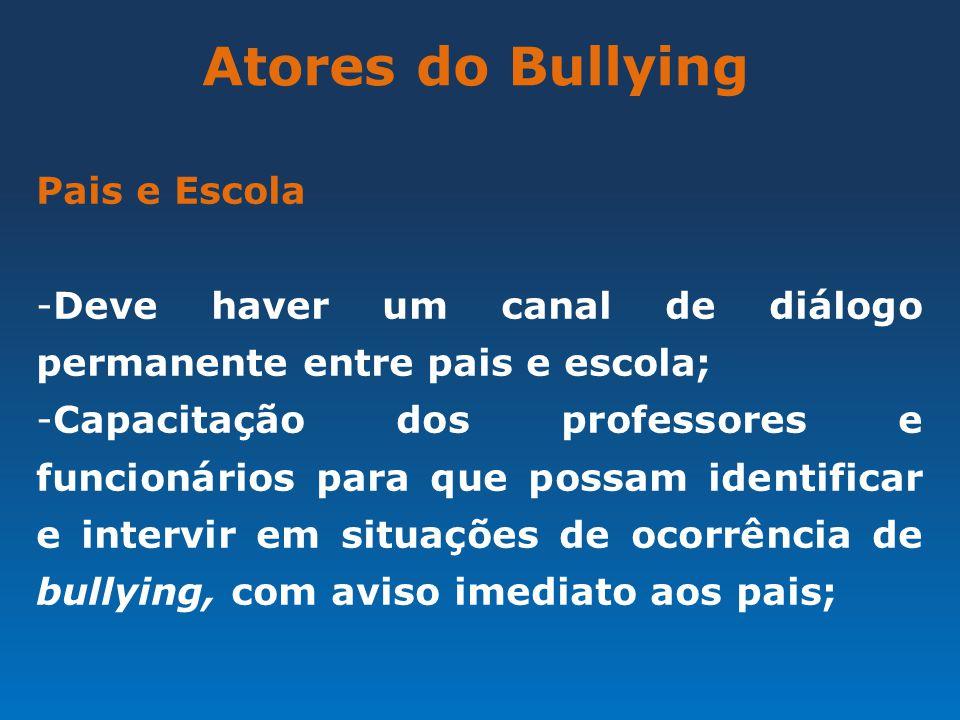 Atores do Bullying Pais e Escola -Deve haver um canal de diálogo permanente entre pais e escola; -Capacitação dos professores e funcionários para que