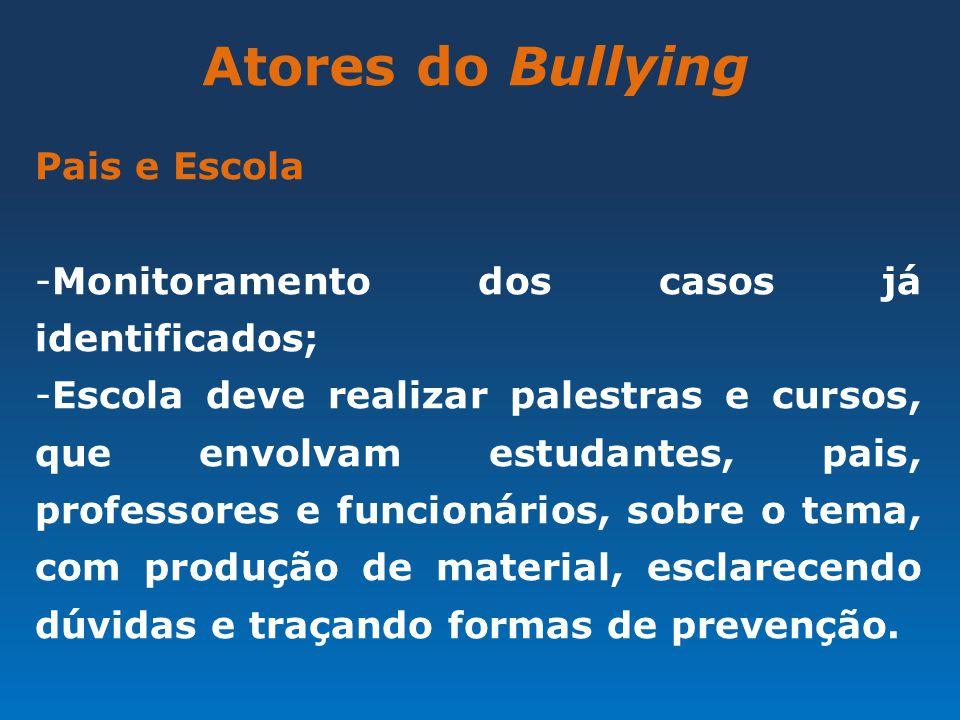 Atores do Bullying Pais e Escola -Monitoramento dos casos já identificados; -Escola deve realizar palestras e cursos, que envolvam estudantes, pais, p