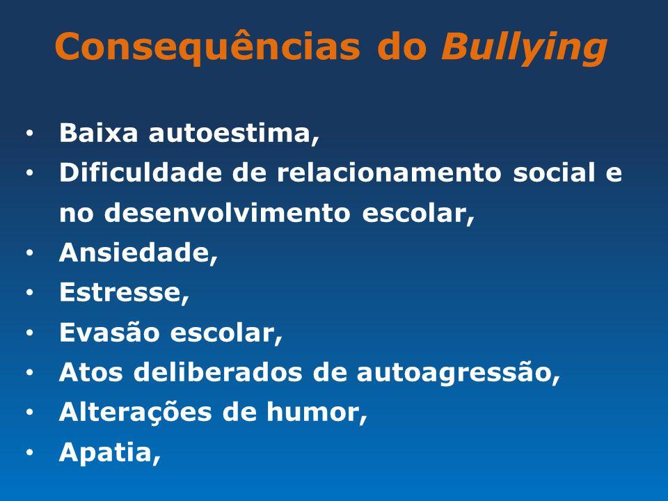 Consequências do Bullying Baixa autoestima, Dificuldade de relacionamento social e no desenvolvimento escolar, Ansiedade, Estresse, Evasão escolar, At