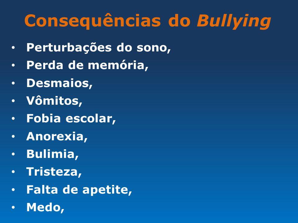 Consequências do Bullying Perturbações do sono, Perda de memória, Desmaios, Vômitos, Fobia escolar, Anorexia, Bulimia, Tristeza, Falta de apetite, Med