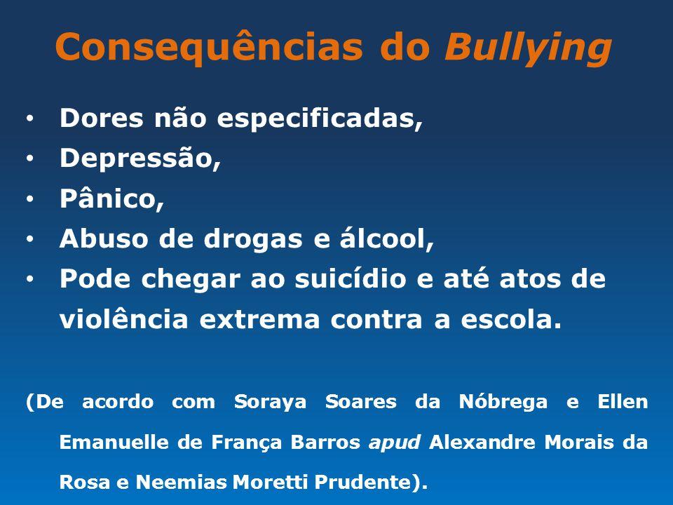 Consequências do Bullying Dores não especificadas, Depressão, Pânico, Abuso de drogas e álcool, Pode chegar ao suicídio e até atos de violência extrem