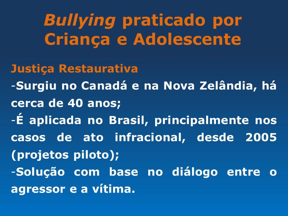 Bullying praticado por Criança e Adolescente Justiça Restaurativa -Surgiu no Canadá e na Nova Zelândia, há cerca de 40 anos; -É aplicada no Brasil, pr