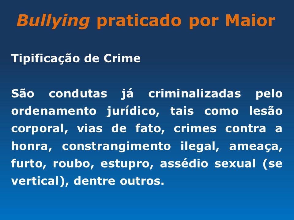 Bullying praticado por Maior Tipificação de Crime São condutas já criminalizadas pelo ordenamento jurídico, tais como lesão corporal, vias de fato, cr