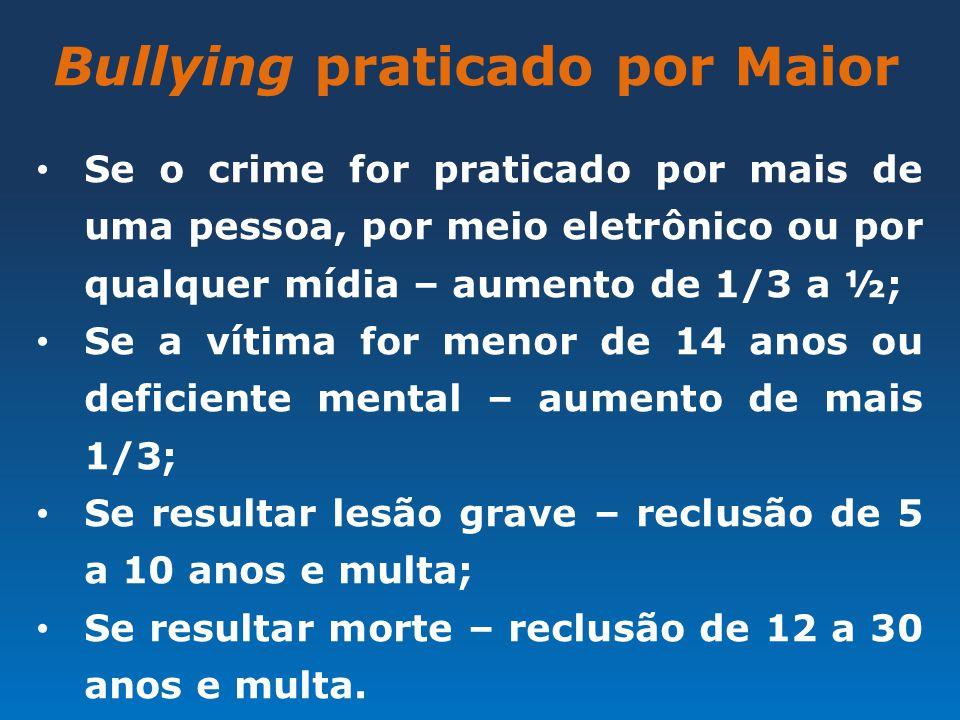 Bullying praticado por Maior Se o crime for praticado por mais de uma pessoa, por meio eletrônico ou por qualquer mídia – aumento de 1/3 a ½; Se a vít