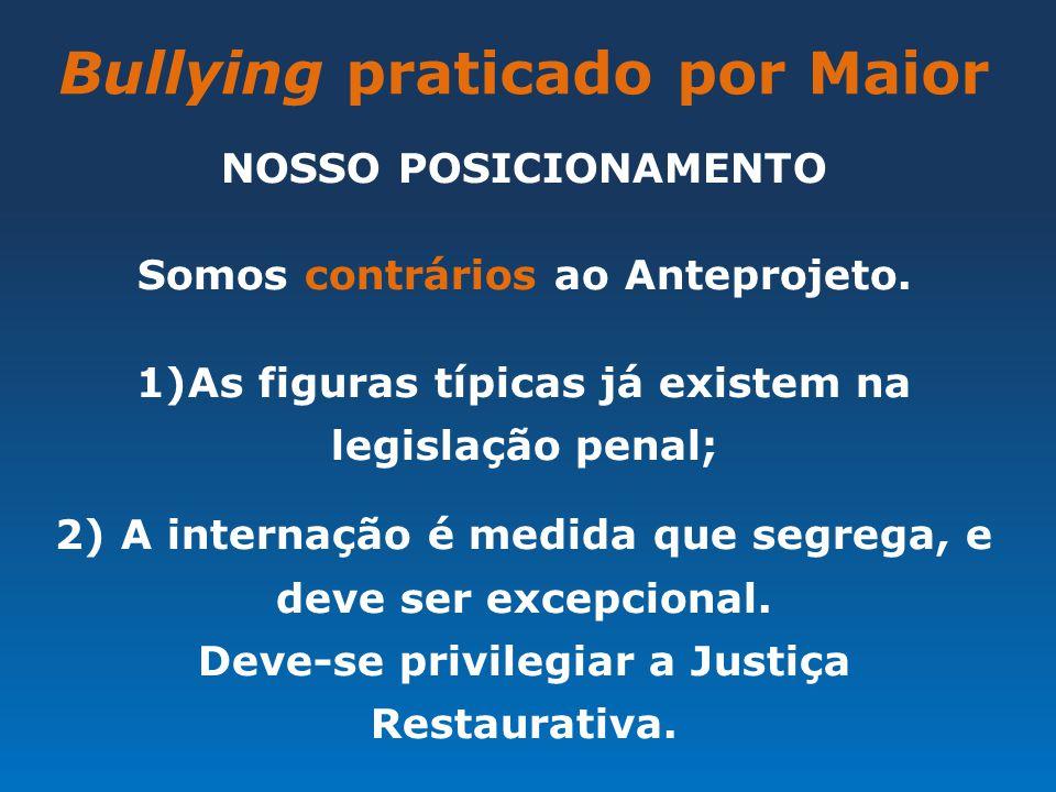 Bullying praticado por Maior NOSSO POSICIONAMENTO Somos contrários ao Anteprojeto. 1)As figuras típicas já existem na legislação penal; 2) A internaçã