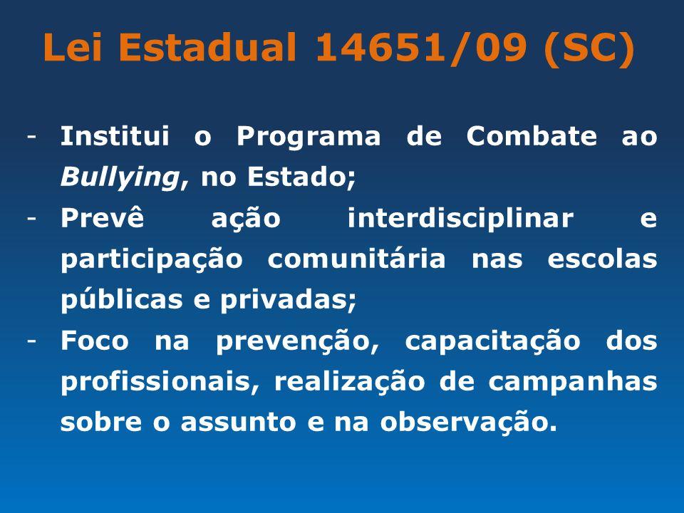 Lei Estadual 14651/09 (SC) -Institui o Programa de Combate ao Bullying, no Estado; -Prevê ação interdisciplinar e participação comunitária nas escolas