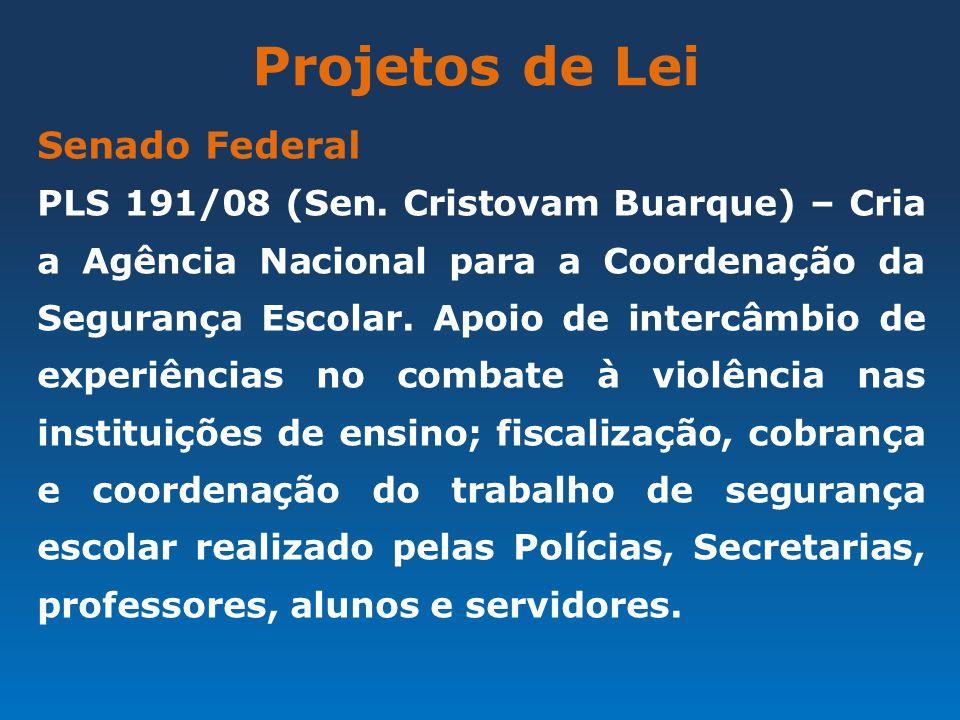 Projetos de Lei Senado Federal PLS 191/08 (Sen. Cristovam Buarque) – Cria a Agência Nacional para a Coordenação da Segurança Escolar. Apoio de intercâ