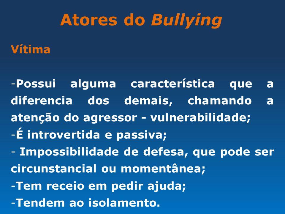 Atores do Bullying Vítima -Possui alguma característica que a diferencia dos demais, chamando a atenção do agressor - vulnerabilidade; -É introvertida