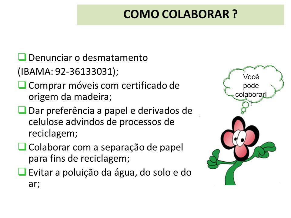  Denunciar o desmatamento (IBAMA: 92-36133031);  Comprar móveis com certificado de origem da madeira;  Dar preferência a papel e derivados de celul