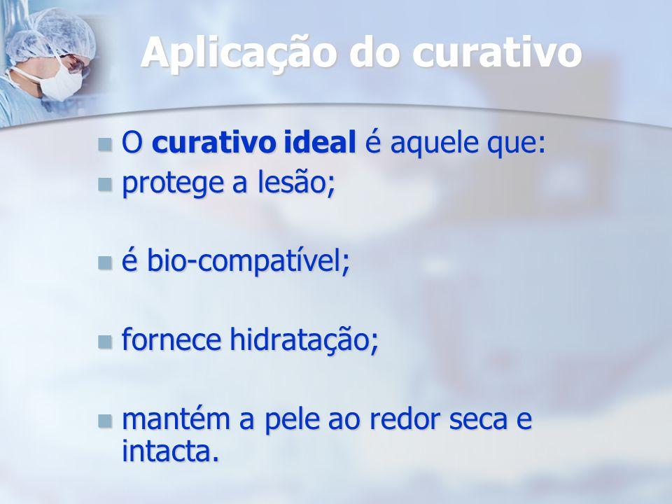 Aplicação do curativo O curativo ideal é aquele que: O curativo ideal é aquele que: protege a lesão; protege a lesão; é bio-compatível; é bio-compatív