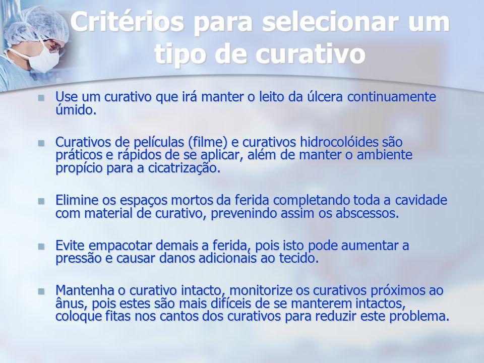 Critérios para selecionar um tipo de curativo Use um curativo que irá manter o leito da úlcera continuamente úmido. Use um curativo que irá manter o l