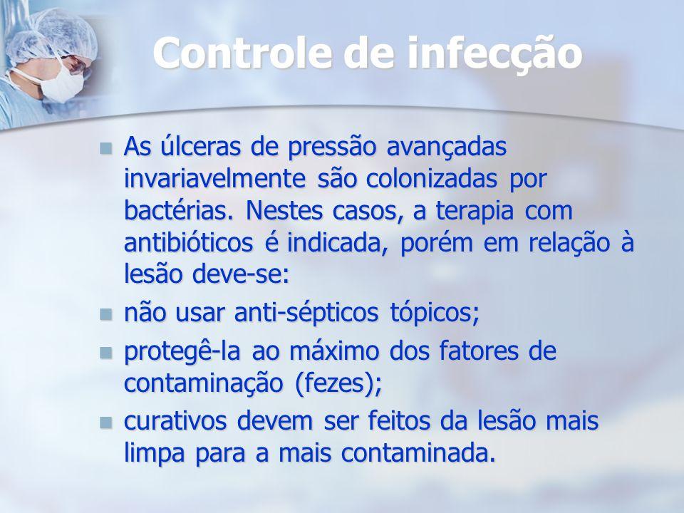 Controle de infecção As úlceras de pressão avançadas invariavelmente são colonizadas por bactérias. Nestes casos, a terapia com antibióticos é indicad