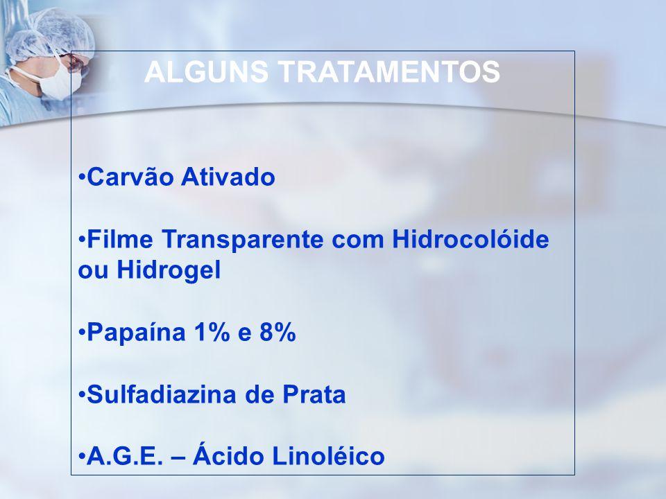 ALGUNS TRATAMENTOS Carvão Ativado Filme Transparente com Hidrocolóide ou Hidrogel Papaína 1% e 8% Sulfadiazina de Prata A.G.E. – Ácido Linoléico