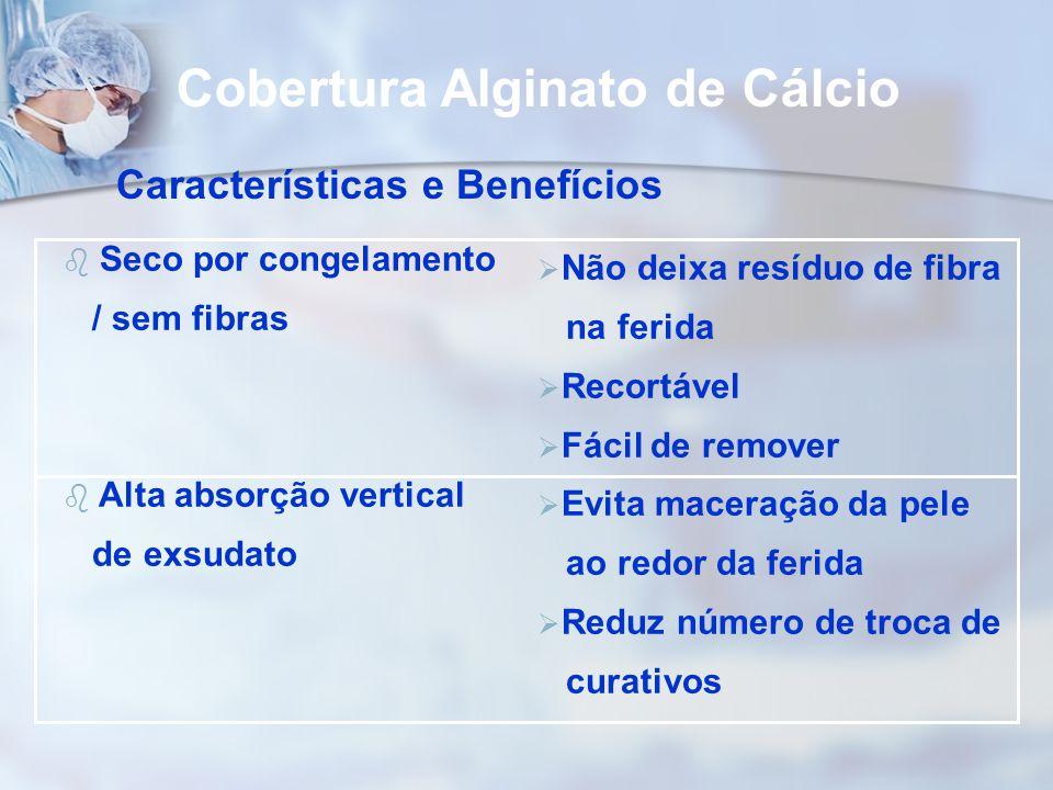 b Seco por congelamento / sem fibras b Alta absorção vertical de exsudato Cobertura Alginato de Cálcio Características e Benefícios  Não deixa resídu