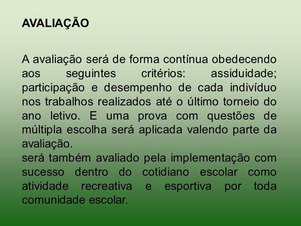 A avaliação será de forma contínua obedecendo aos seguintes critérios: assiduidade; participação e desempenho de cada indivíduo nos trabalhos realizados até o último torneio do ano letivo.