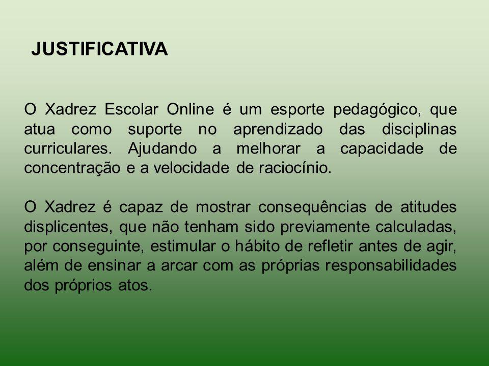 JUSTIFICATIVA O Xadrez Escolar Online é um esporte pedagógico, que atua como suporte no aprendizado das disciplinas curriculares. Ajudando a melhorar