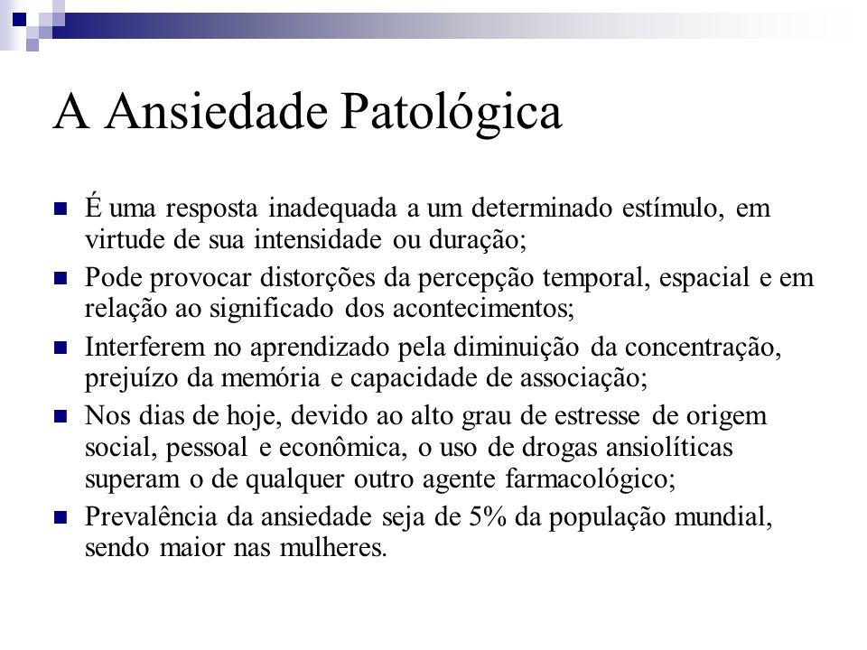 A Ansiedade Patológica É uma resposta inadequada a um determinado estímulo, em virtude de sua intensidade ou duração; Pode provocar distorções da perc