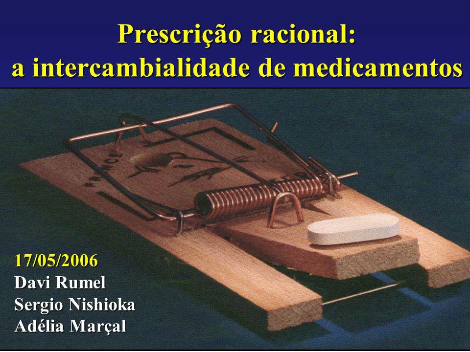 Agência Nacional de Vigilância Sanitária www.anvisa.gov.br Prescrição racional: a intercambialidade de medicamentos 17/05/2006 Davi Rumel Sergio Nishi