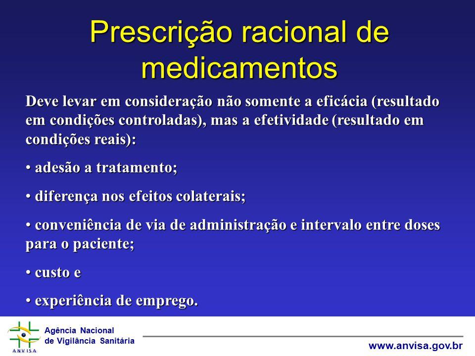 Agência Nacional de Vigilância Sanitária www.anvisa.gov.br Prescrição racional de medicamentos Deve levar em consideração não somente a eficácia (resu