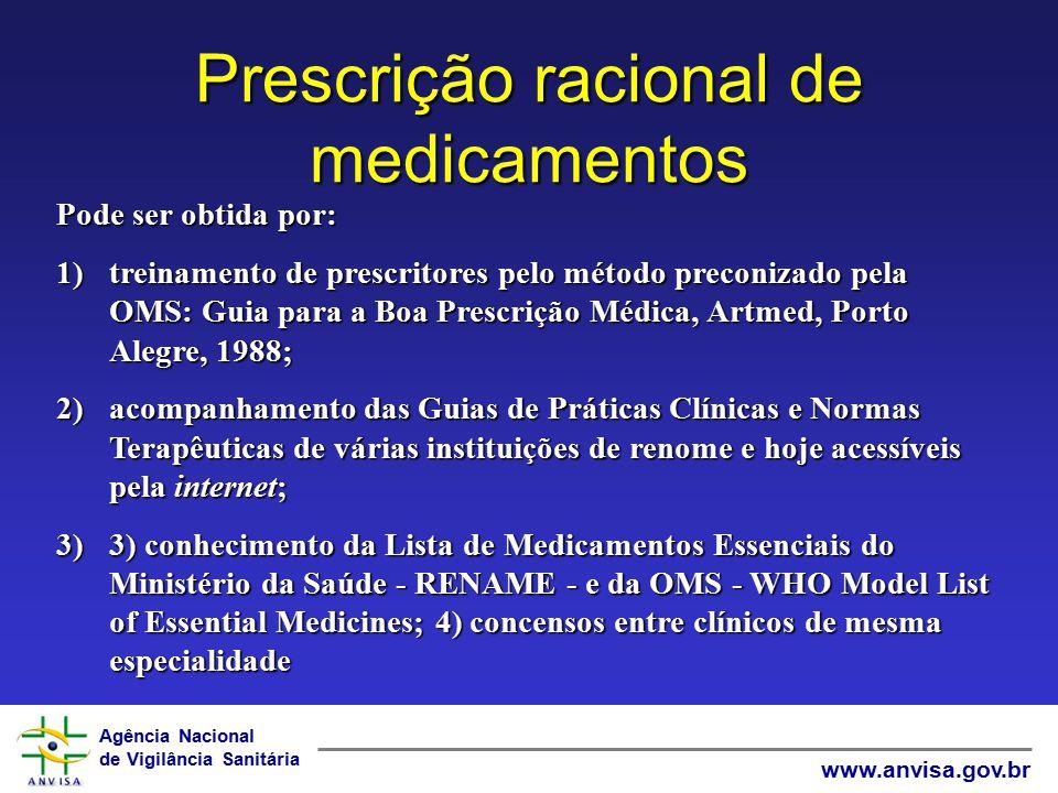 Agência Nacional de Vigilância Sanitária www.anvisa.gov.br Prescrição racional de medicamentos Pode ser obtida por: 1)treinamento de prescritores pelo