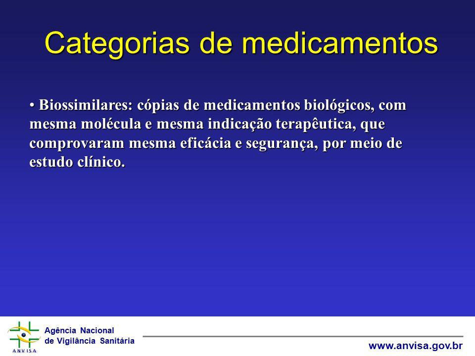 Agência Nacional de Vigilância Sanitária www.anvisa.gov.br Categorias de medicamentos Biossimilares: cópias de medicamentos biológicos, com mesma molé