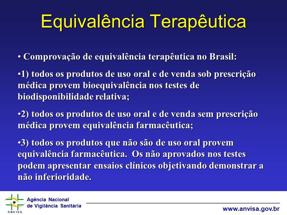 Agência Nacional de Vigilância Sanitária www.anvisa.gov.br Equivalência Terapêutica Comprovação de equivalência terapêutica no Brasil: Comprovação de