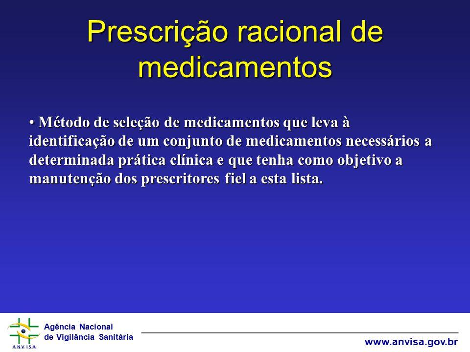 Agência Nacional de Vigilância Sanitária www.anvisa.gov.br Prescrição racional de medicamentos Método de seleção de medicamentos que leva à identifica