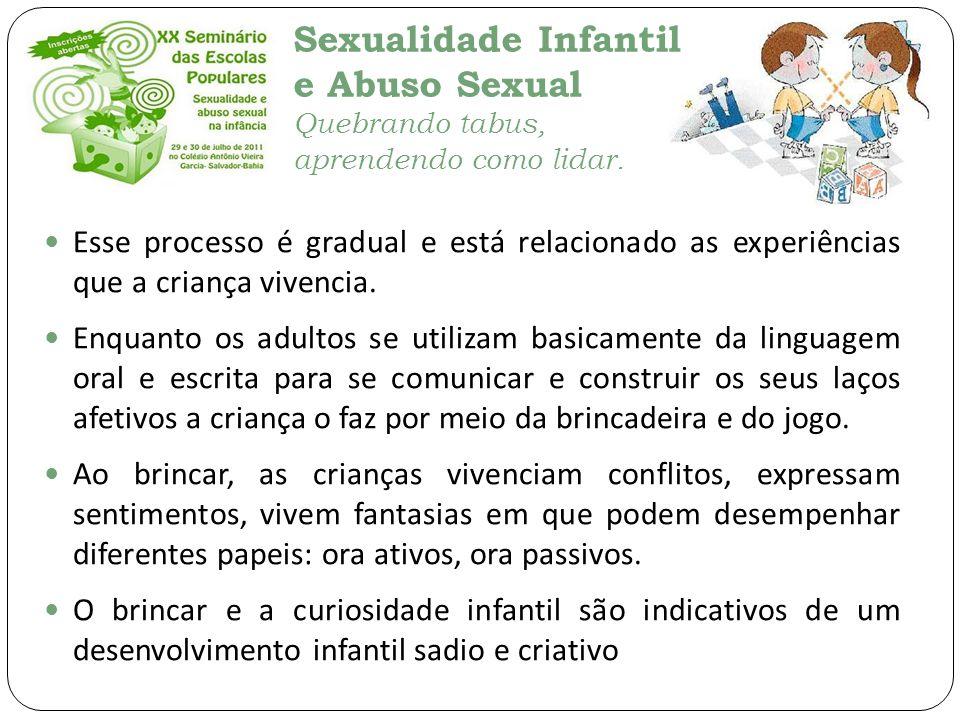 Sexualidade Infantil e Abuso Sexual Quebrando tabus, aprendendo como lidar. Esse processo é gradual e está relacionado as experiências que a criança v