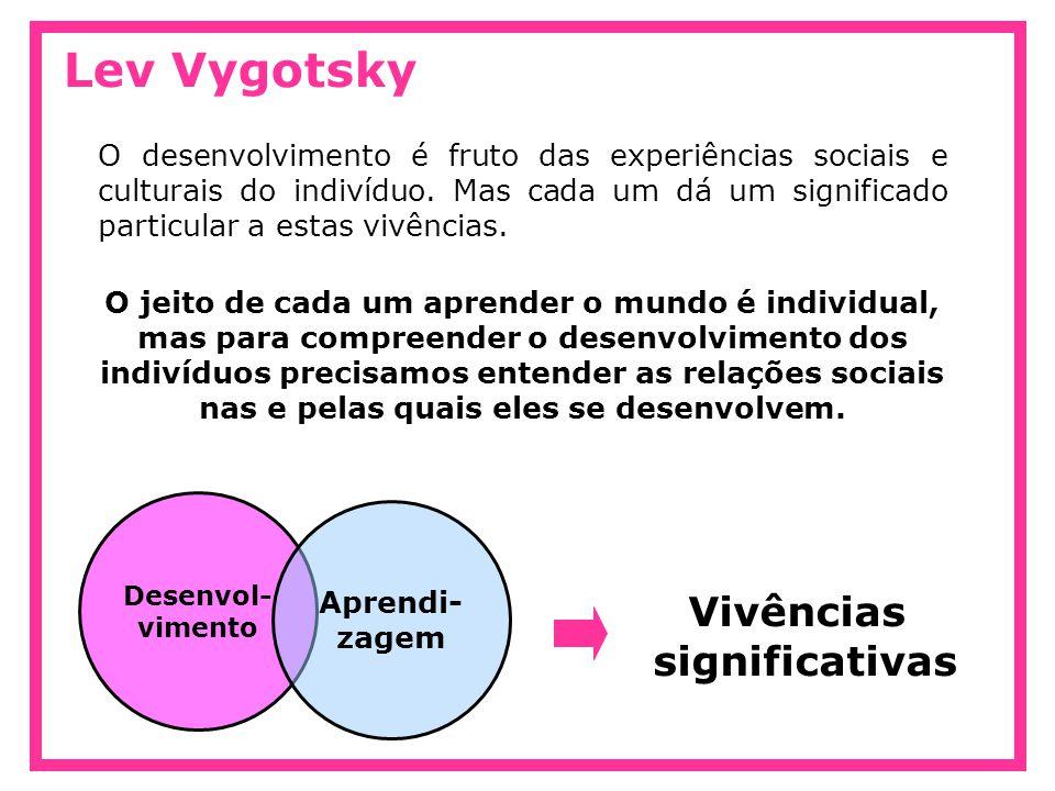 Lev Vygotsky O desenvolvimento é fruto das experiências sociais e culturais do indivíduo. Mas cada um dá um significado particular a estas vivências.
