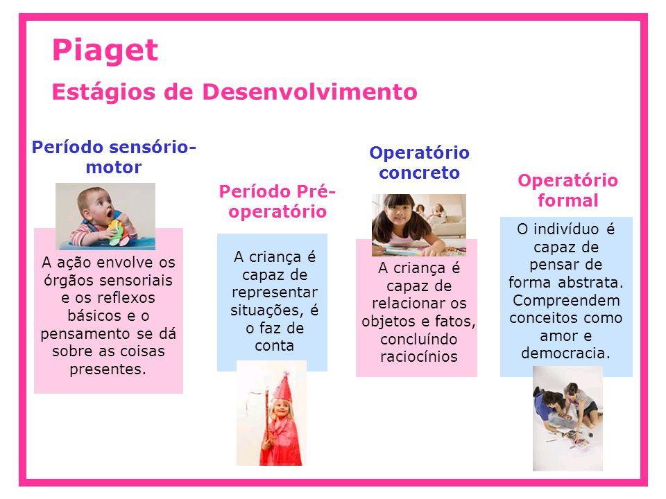 Período sensório- motor Piaget Estágios de Desenvolvimento A ação envolve os órgãos sensoriais e os reflexos básicos e o pensamento se dá sobre as coisas presentes.