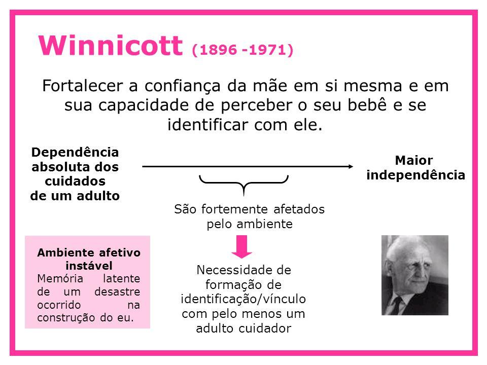 Winnicott (1896 -1971) Fortalecer a confiança da mãe em si mesma e em sua capacidade de perceber o seu bebê e se identificar com ele. Dependência abso
