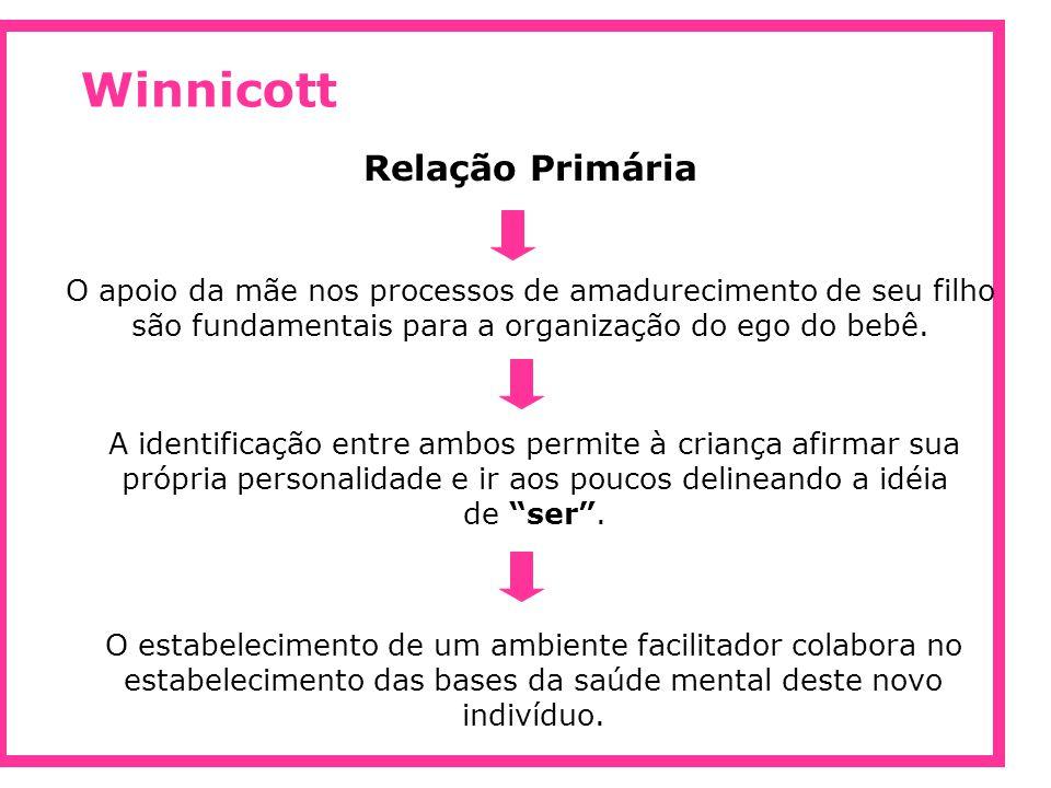 Winnicott Relação Primária O apoio da mãe nos processos de amadurecimento de seu filho são fundamentais para a organização do ego do bebê. A identific