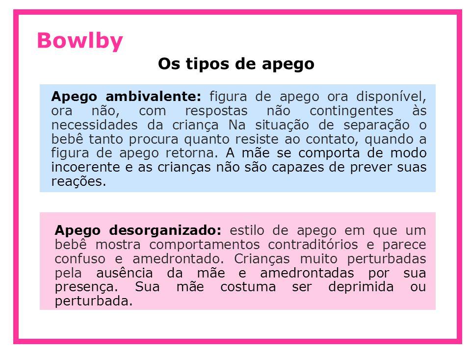 Bowlby Apego ambivalente: figura de apego ora disponível, ora não, com respostas não contingentes às necessidades da criança Na situação de separação